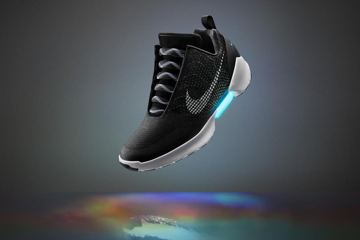 The Nike HyperAdapt 1.0 features a sensor inside that detects a heel sliding in, causing the shoe to automatically tighten around the foot