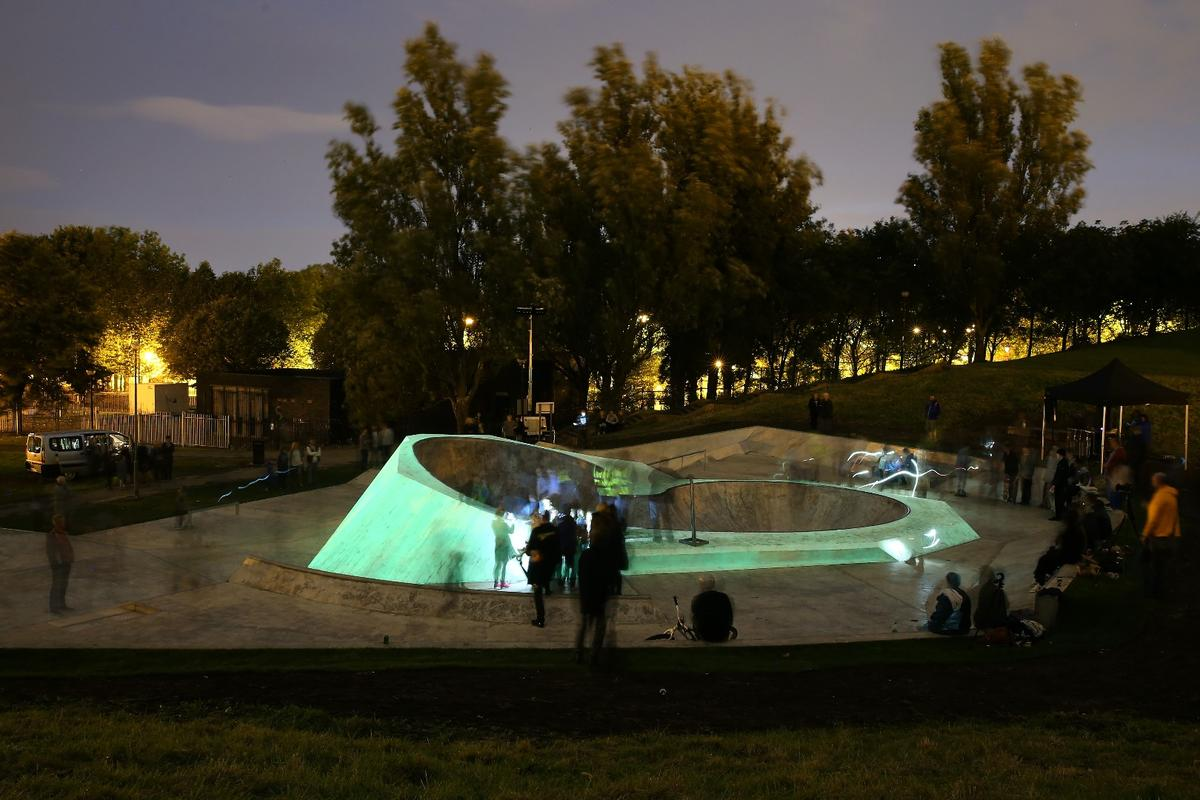 Certain sections at the center of the skatepark have been chosen to glow