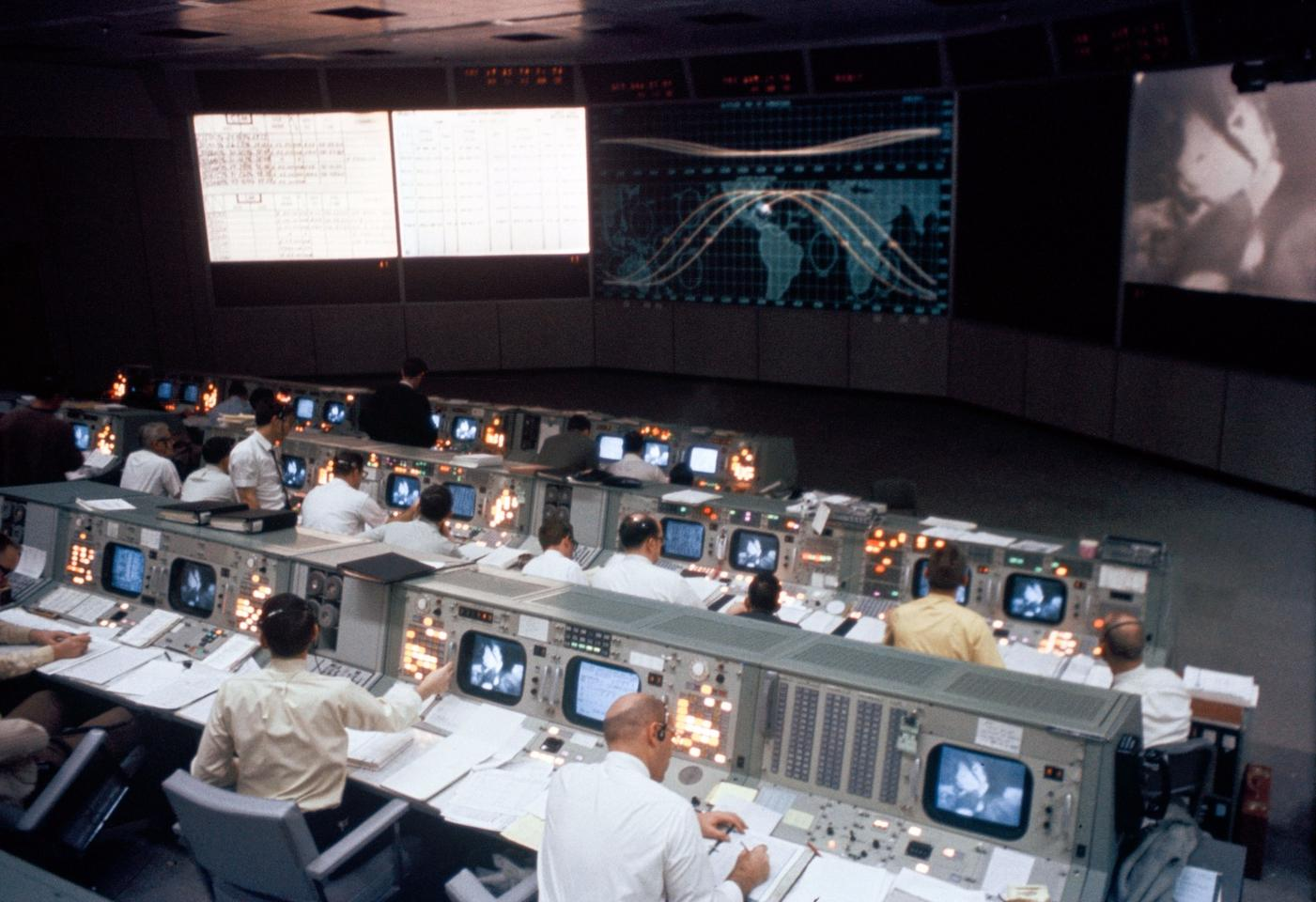 Shot of the Historic Mission Operations Control Room snapped as during a live television transmission fromApollo 9 as itorbited the Earth