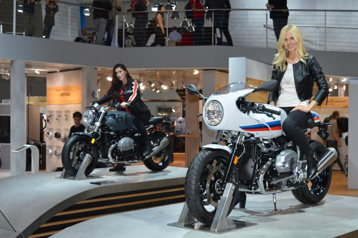 The two new R nineT variants, Racer (foreground) and Pure (background), took center stage at BMW's Intermot booth