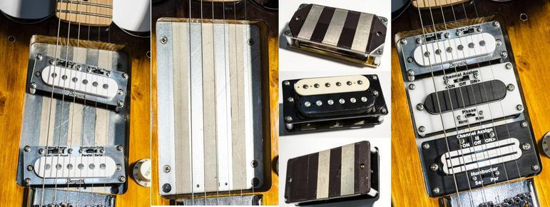 The Bergstok guitars feature a steel plate in the body cavity where pickups can be hot-swapped in and out without need of a soldering iron