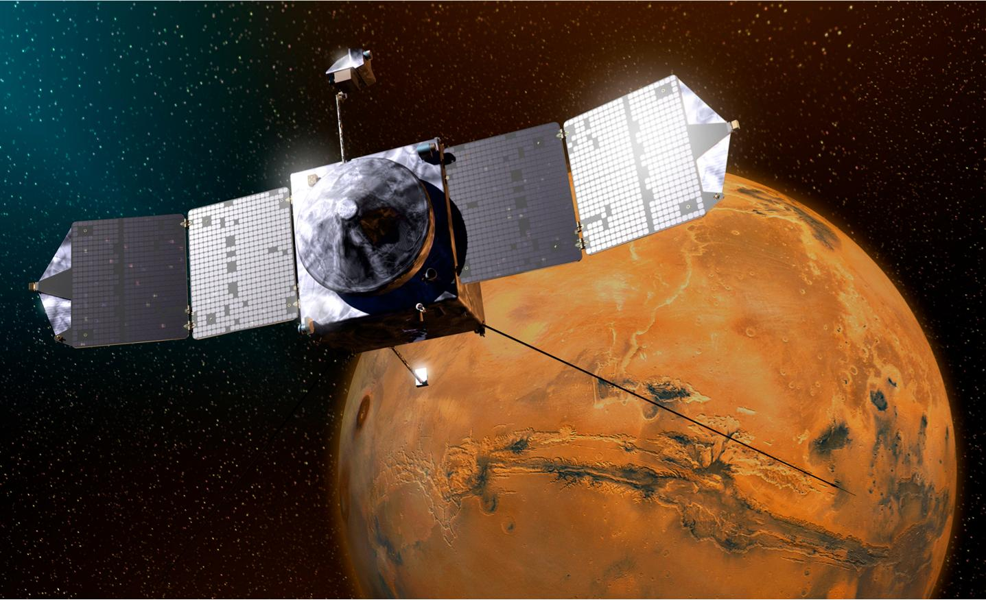 Artist's concept of MAVEN orbiting Mars