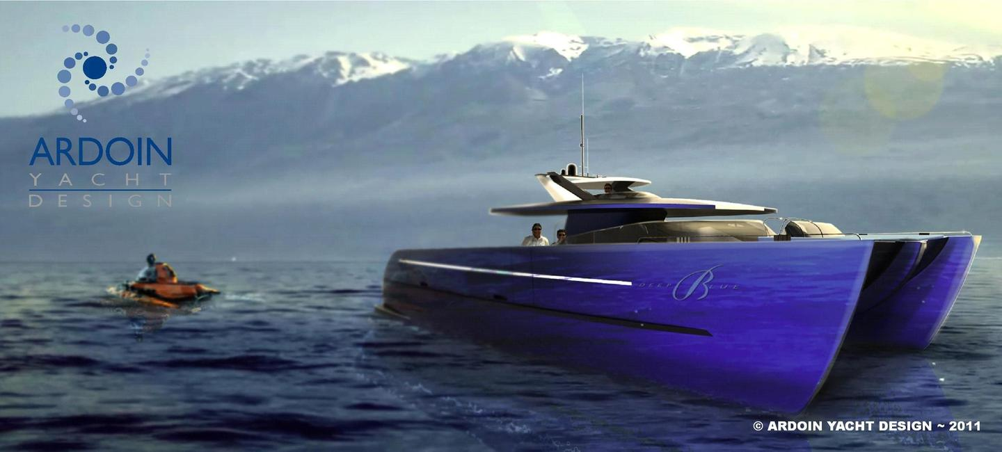 Ardoin Yacht Design's DEEP BLUE catamaran is the perfect platform for a personal submarine