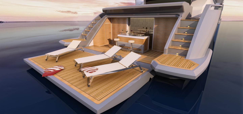 The Azimut Grande 140 Trideck stern deck