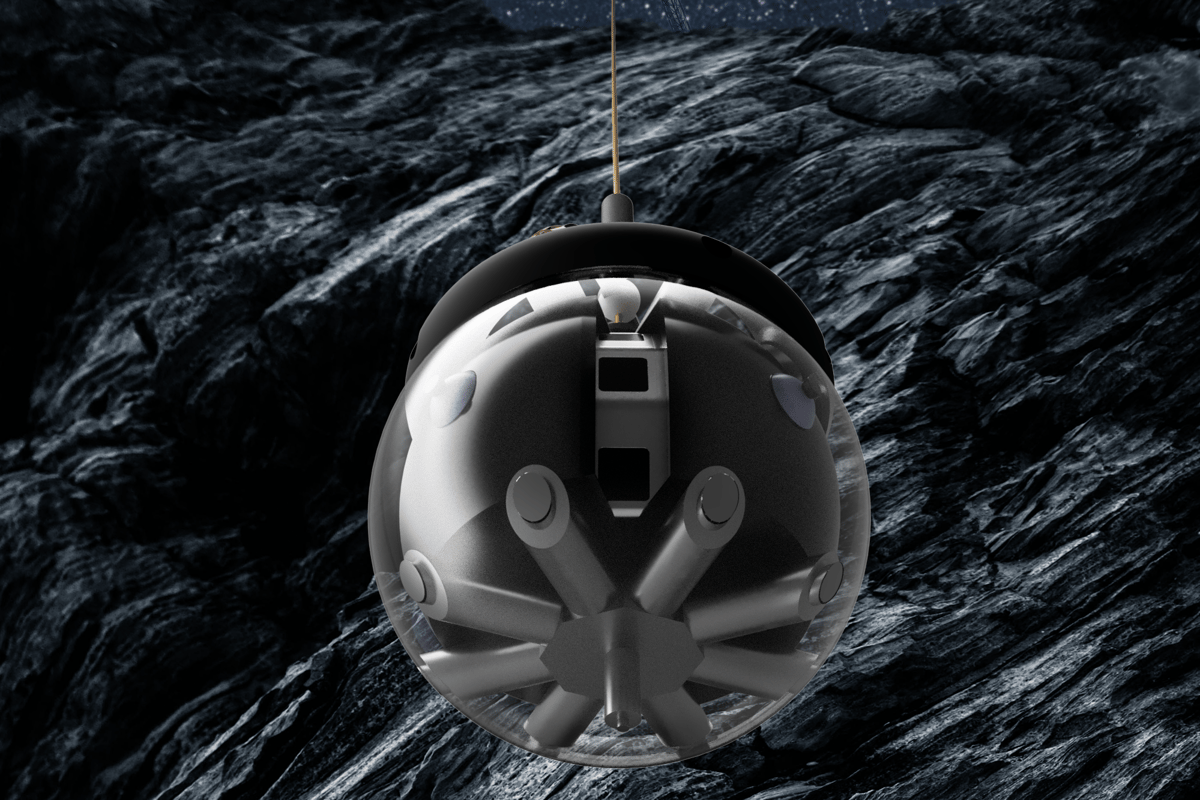 Artist's concept of DAEDALUS, a spherical robot designed to explore caves on the Moon