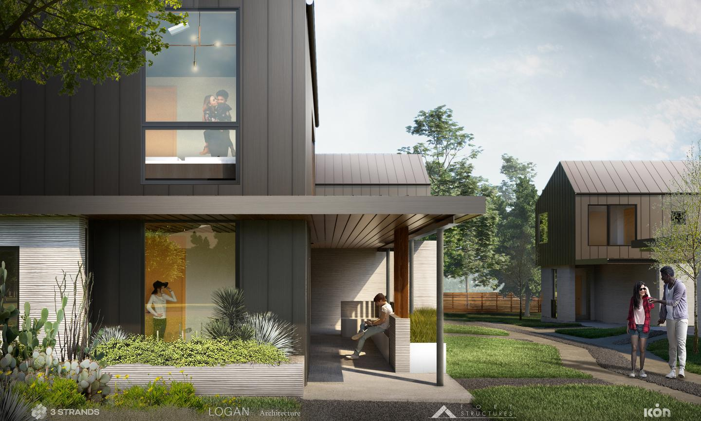 The 3D-printed homes were designed by Logan Architecture