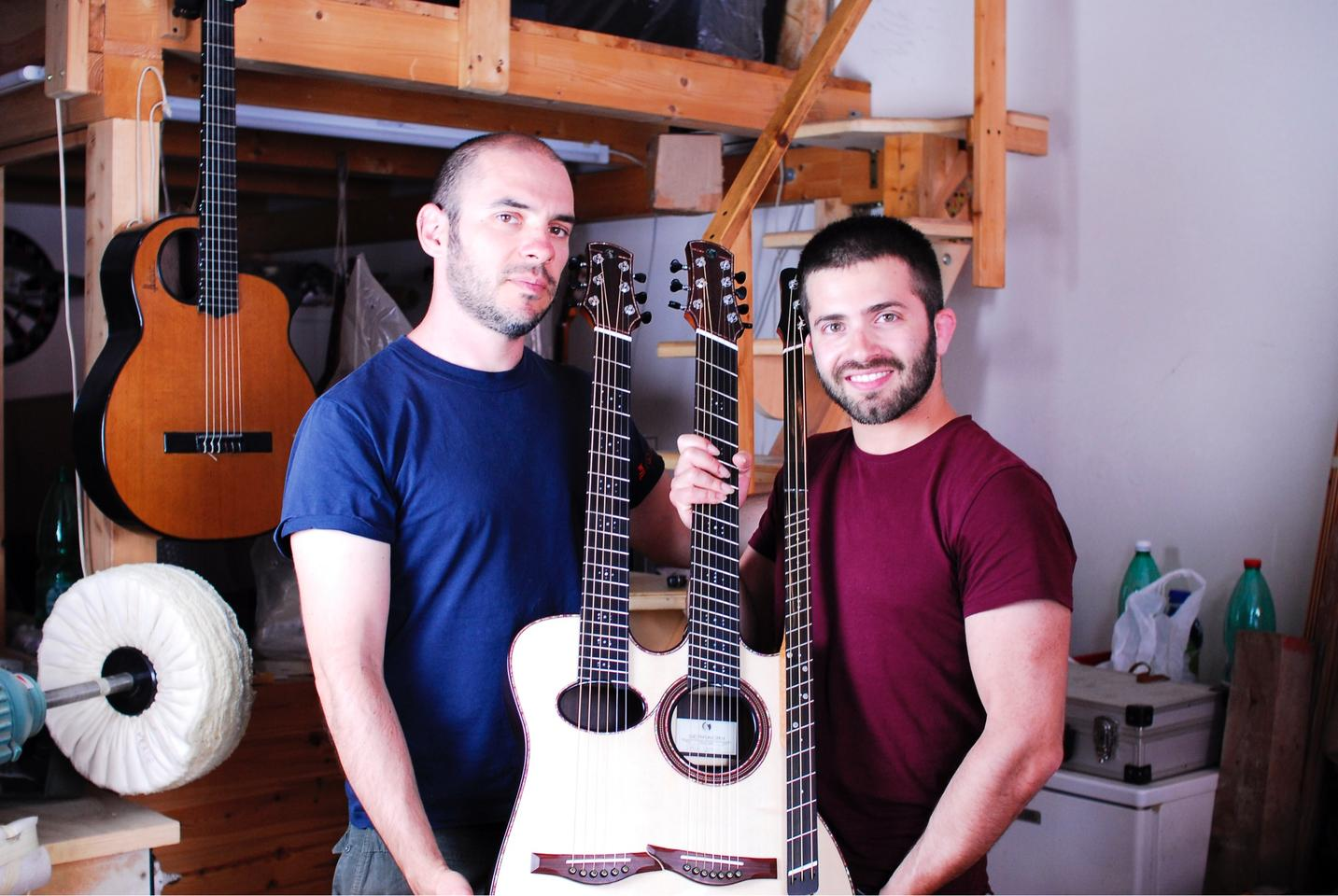 Luca Stricagnoli (right) with his luthier friend Davide Serracini (left) and the Reversed Triple Neck Guitar in the middle