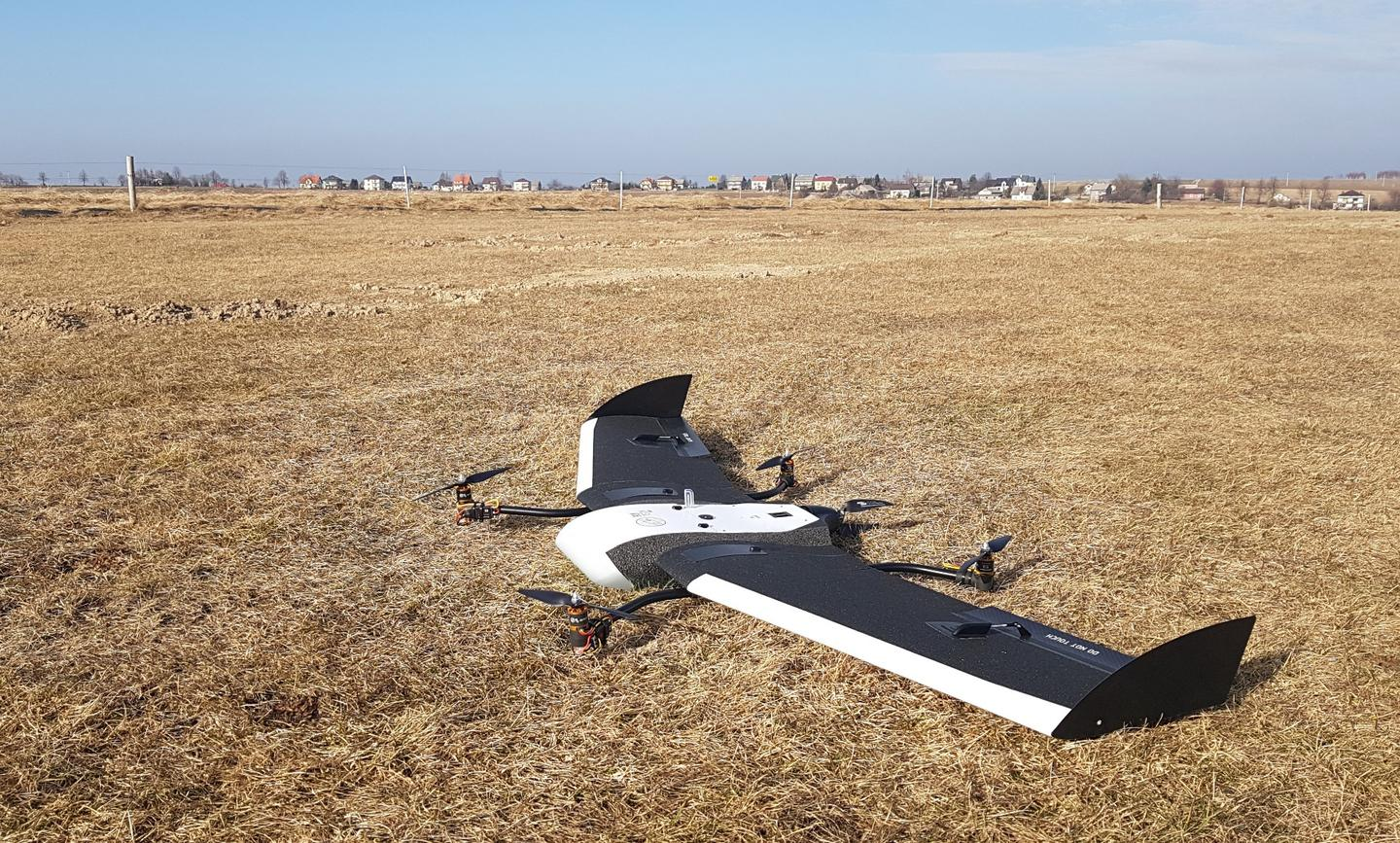 Fixed-wing drone goes VTOL with add-on module