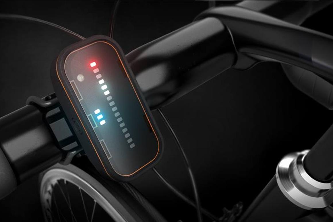 The Backtracker's front module alerts riders via an LED display