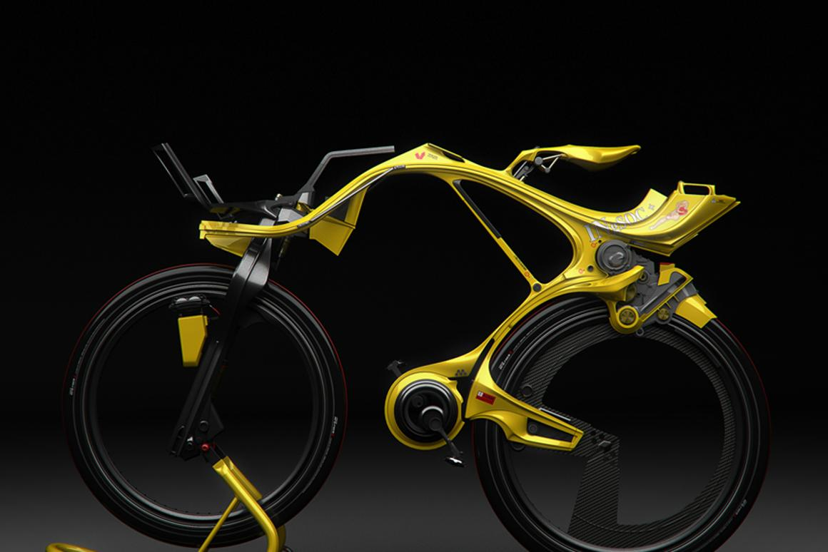 Rendering of the INgSOC human/electric bike designed by Edward Kim and Benny Cemoli