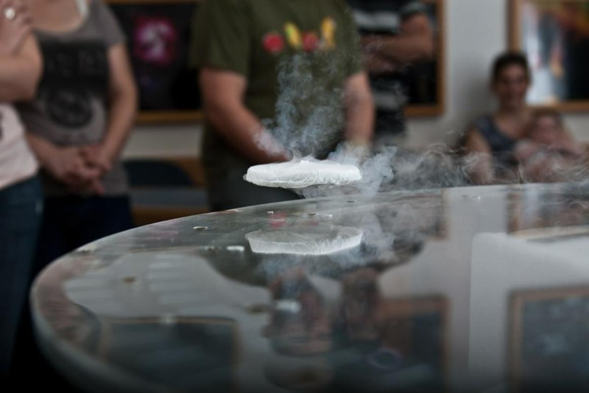 Recent demonstration of quantum levitation during the 2011 Association of Science- Technology Centers' annual conference (Image: Tel Aviv University)