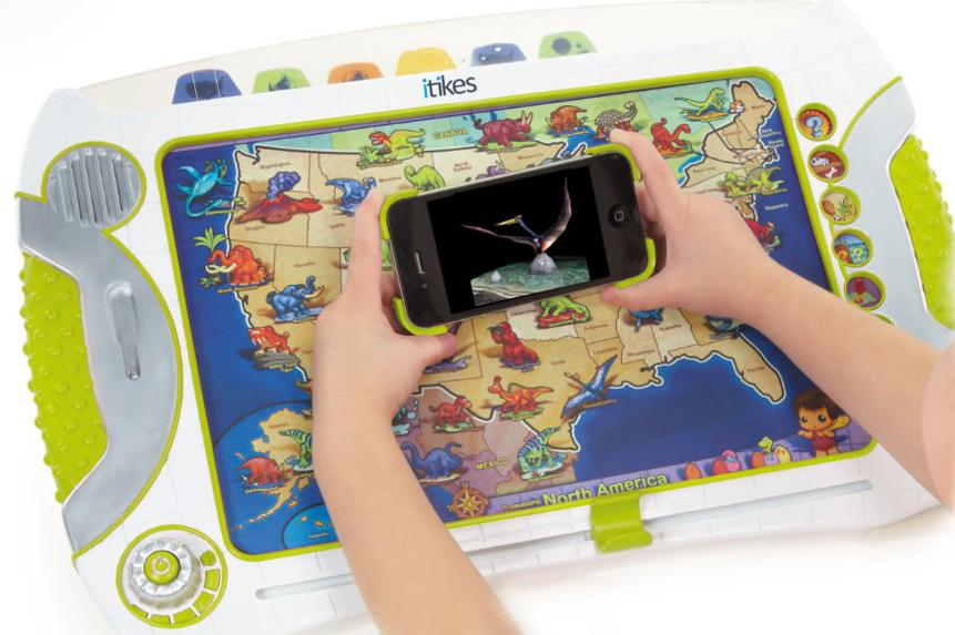When an iPhone or iPod Touch is held over the augmented reality enabled maps of the iTikes Map, illustrations, animations and interactive 3D images can be accessed
