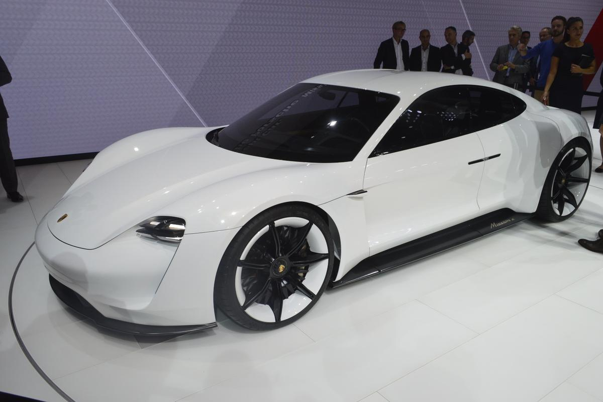 The Porsche Mission E, on display at the Frankfurt Motor Show
