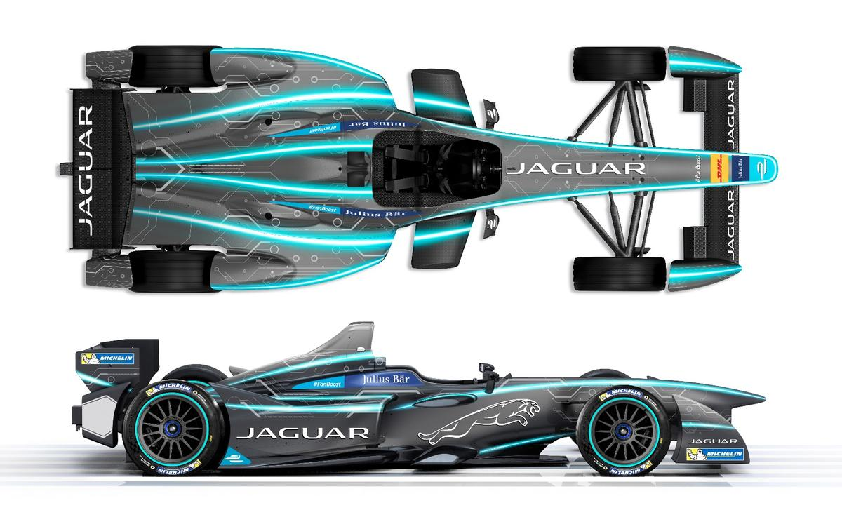 A top and side rendition of the Jaguar Formula E race car