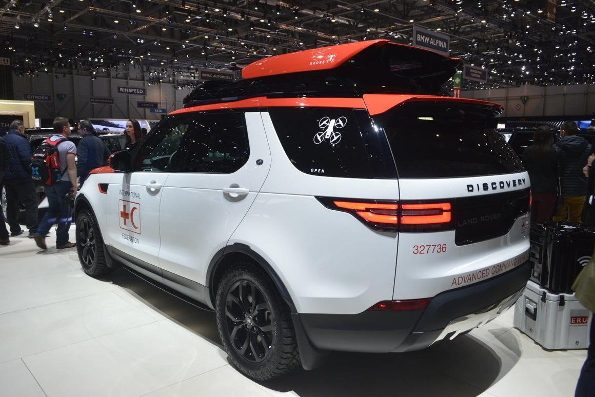 Bespoke Land Rover Discovery launches a search drone from