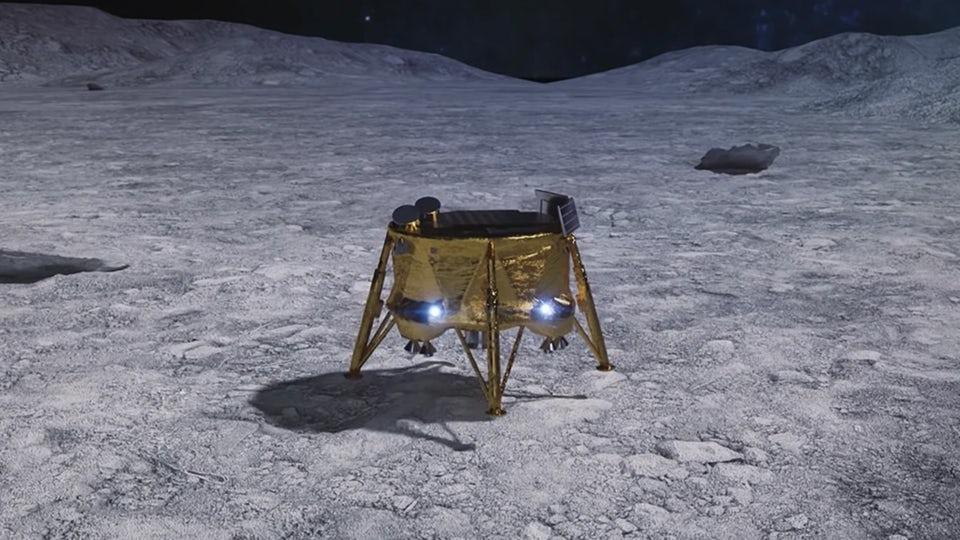 Render of the Beresheet lander on the Moon's surface