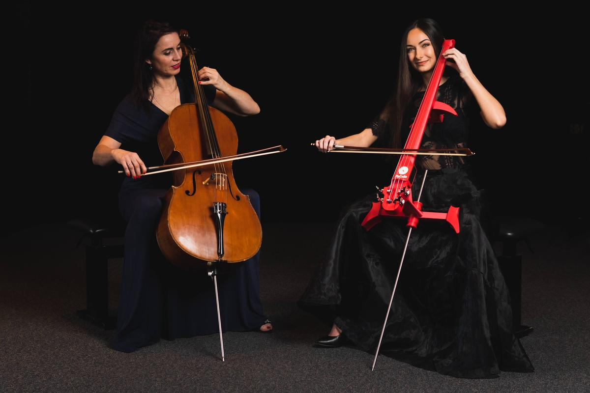 The MyCello (right) is billed as the world's only 3D-printed electric cello