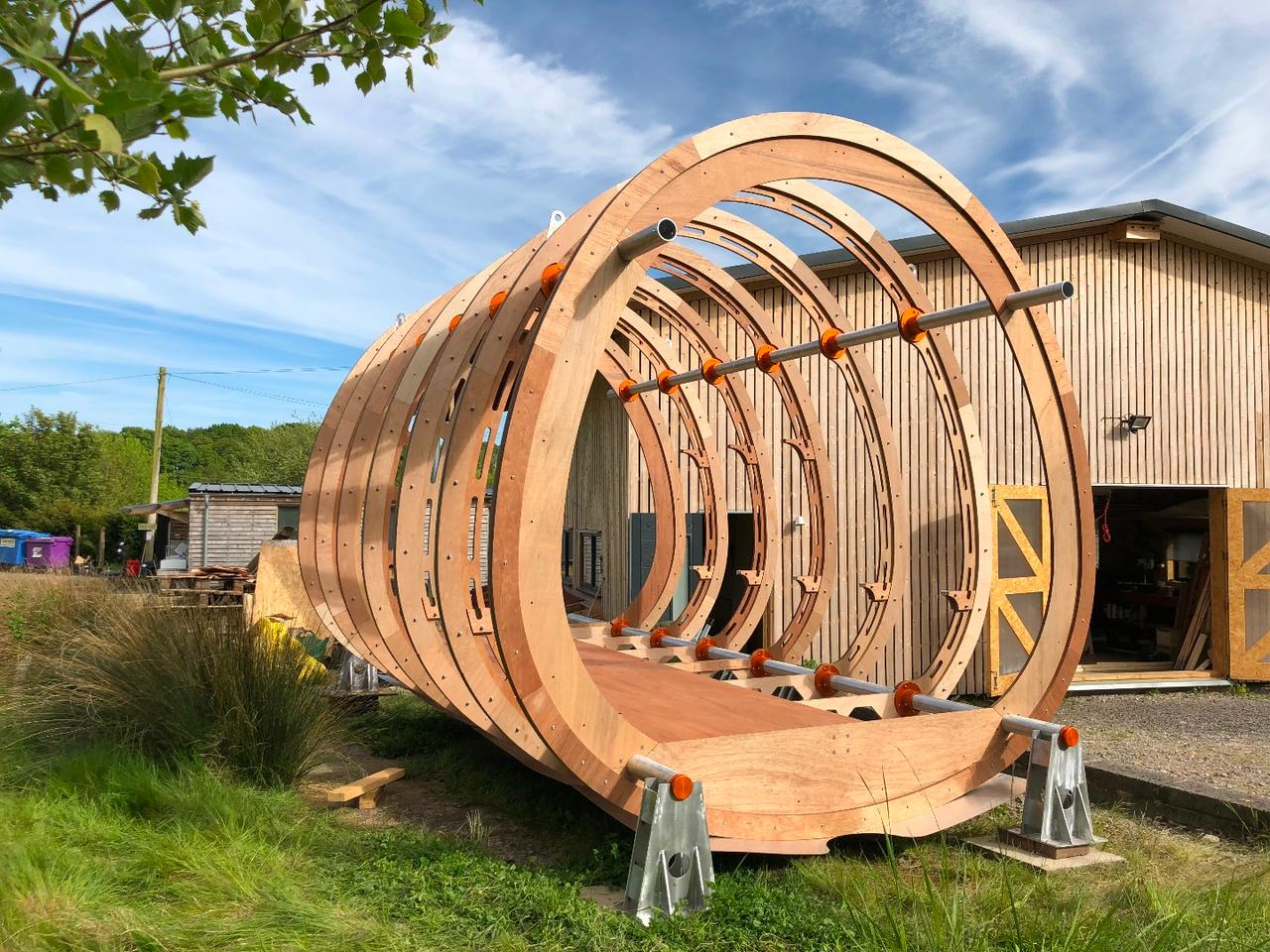 The Fuselage's shell is built from sustainably-sourced wood
