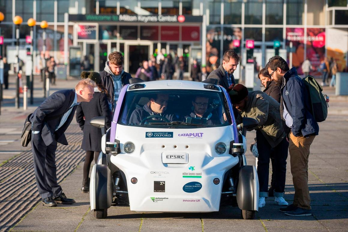 TheLUTZ Pathfinder pods shuttled people aroundthe Milton Keynes train station and the city's business district