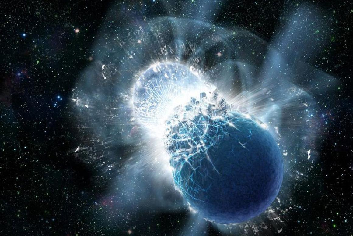 An artist's rendition of two neutron stars colliding, which is believed to be responsible for one of the gravitational wave detections in the latest batch reported by LIGO and Virgo