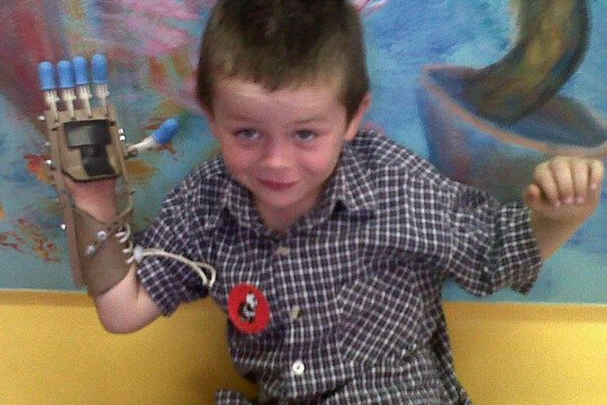 """Liam impressed his doctors and classmates alike with his """"Robohand,"""" which was created by Ivan Owen and Richard Van As"""
