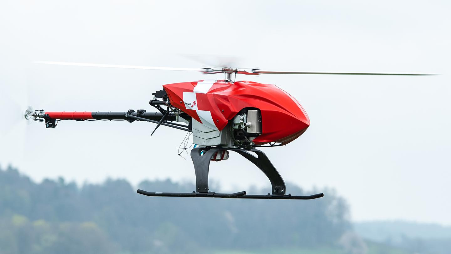 The Rega drone can spot signs of missing people and alert rescue teams on the ground