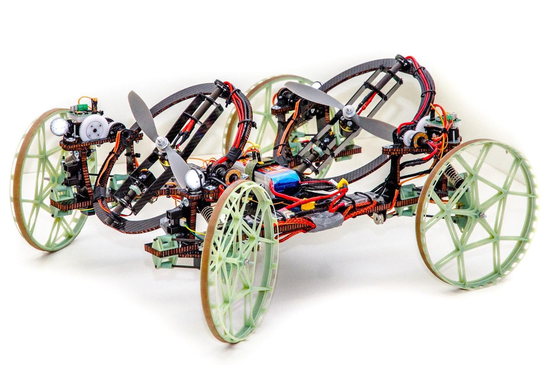 The four-wheeled, two-propellered VertiGo robot