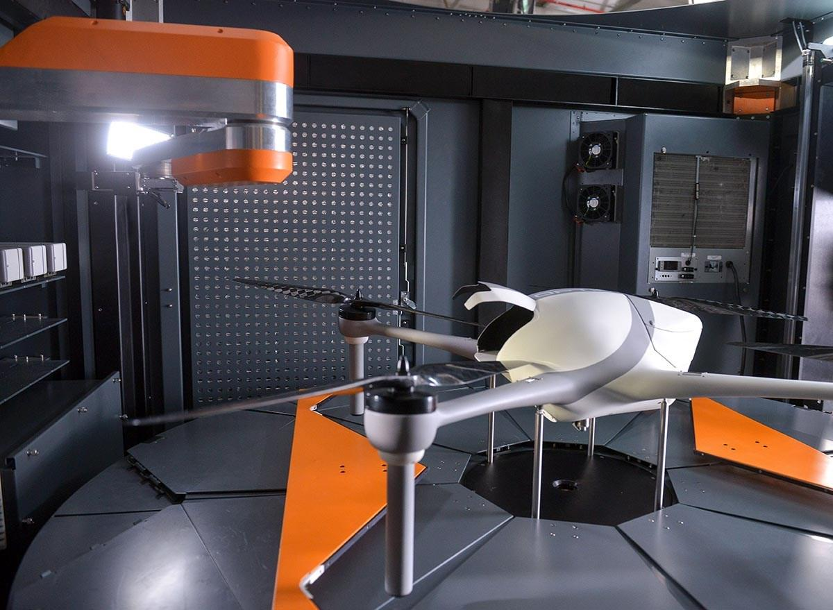 The drone itself, dubbed Optimus, is a customizable quadcopter capable of 30-minute flights and carrying one kg (2.2 lb) payloads