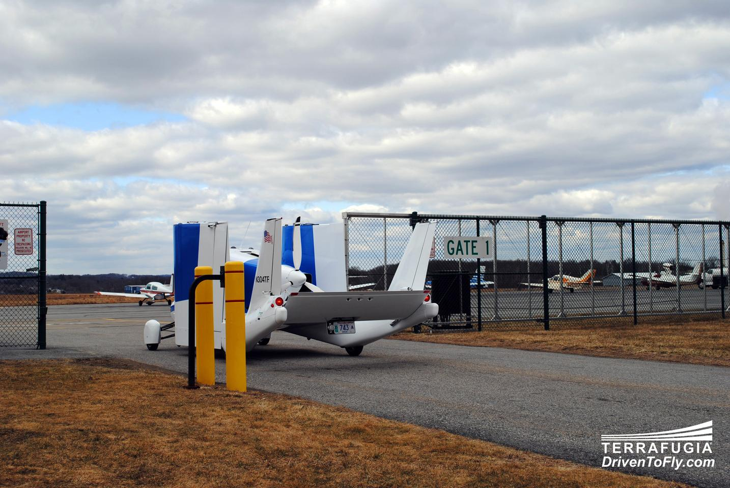 The Terrafugia Transition production prototype, entering the airfield at Plattsburgh International Airport