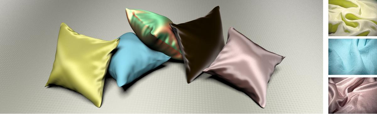 Simulated silk crepe de chine, linen plain, silk shot fabric, velvet and polyester satin charmeuse (Image: Iman Sadeghi, et. al/Jacobs School of Engineering/UC San Diego)