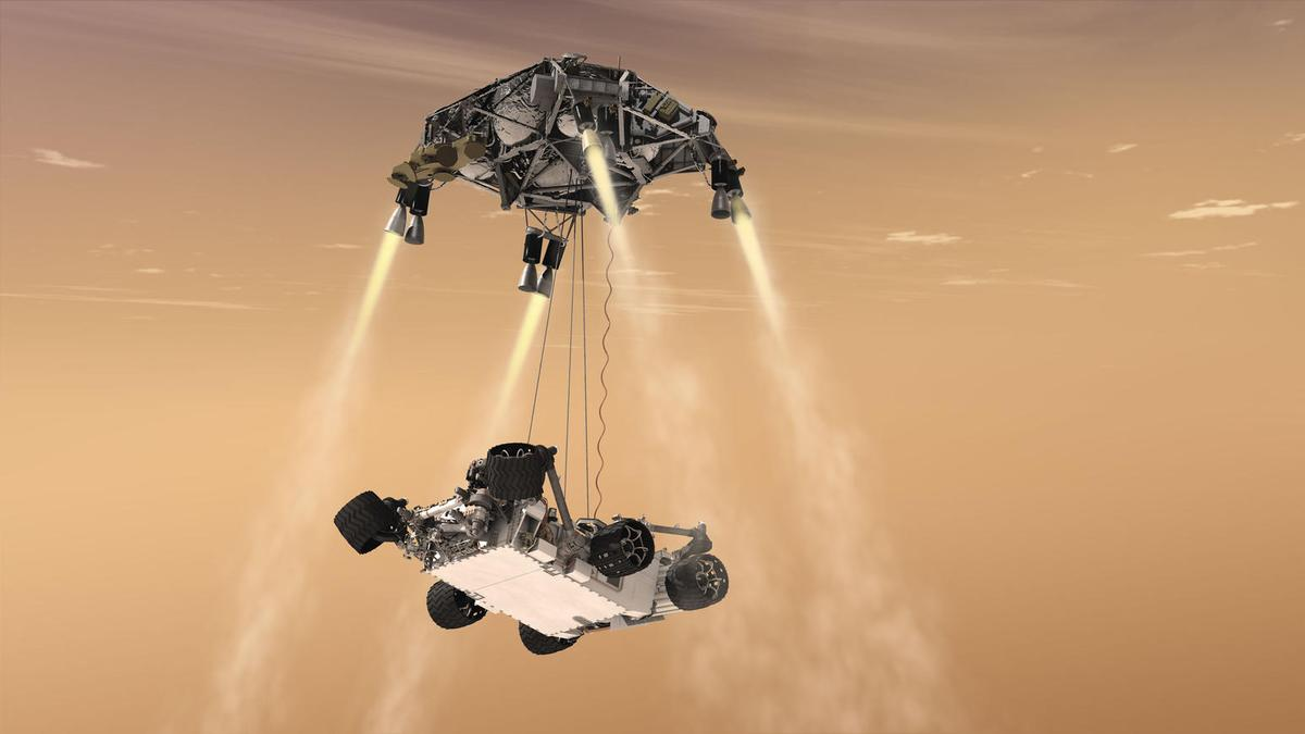 Artist's concept of the Mars 2020 rover and the descent stage