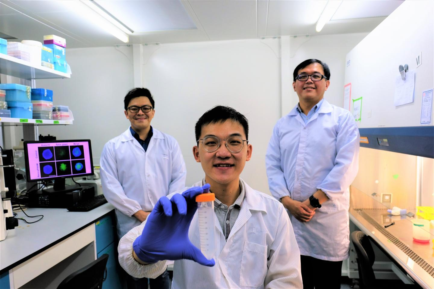 Members of the research team behind the new nanoparticle, from left to right, Assistant Professor Dalton Tay, Research Associate Kenny Wu and Associate Professor Tan Nguan Soon