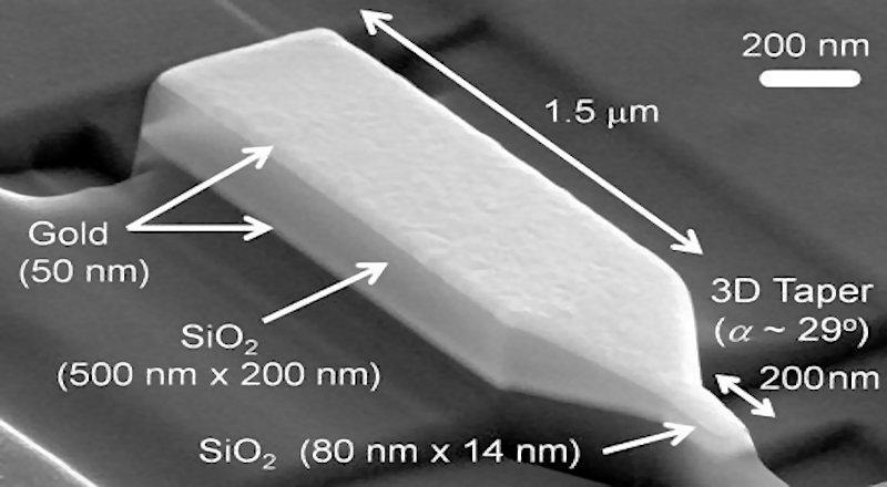 CalTech's new nanofocusing plasmonic waveguide is a tapered silica glass structure covered with a thin layer of gold