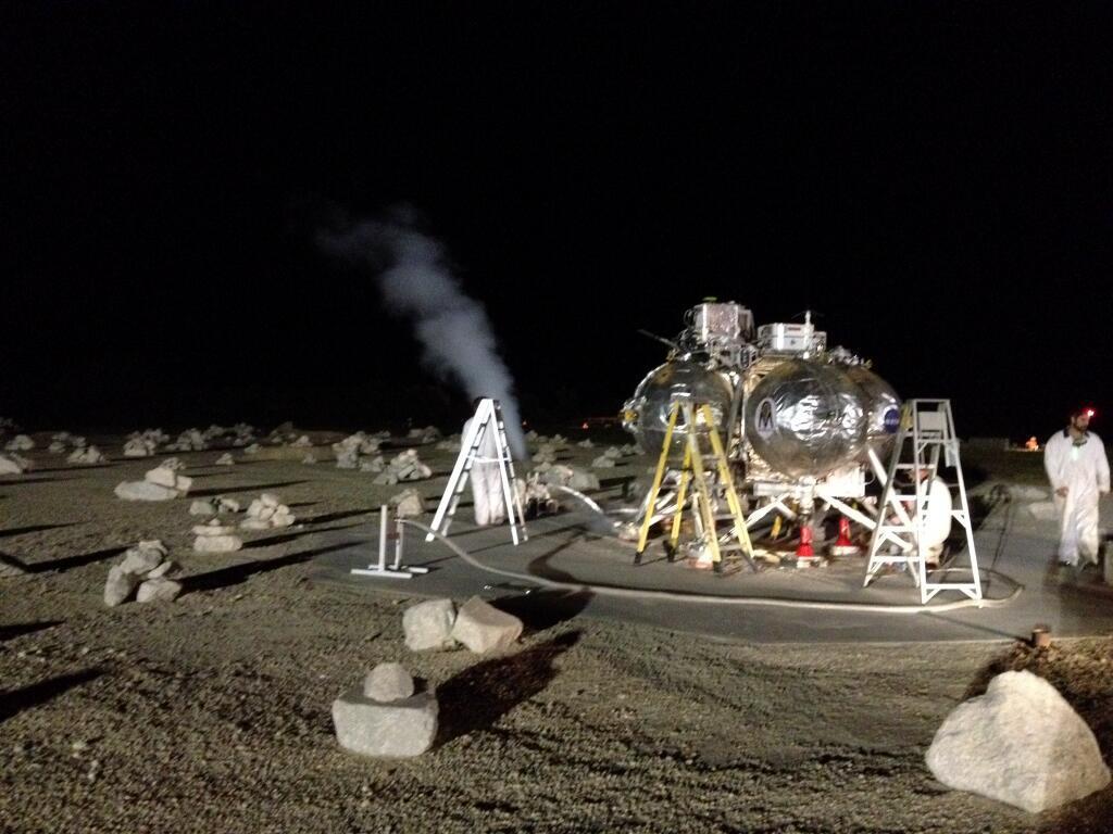 Morpheus sitting in its hazardous landing field (Image: NASA)