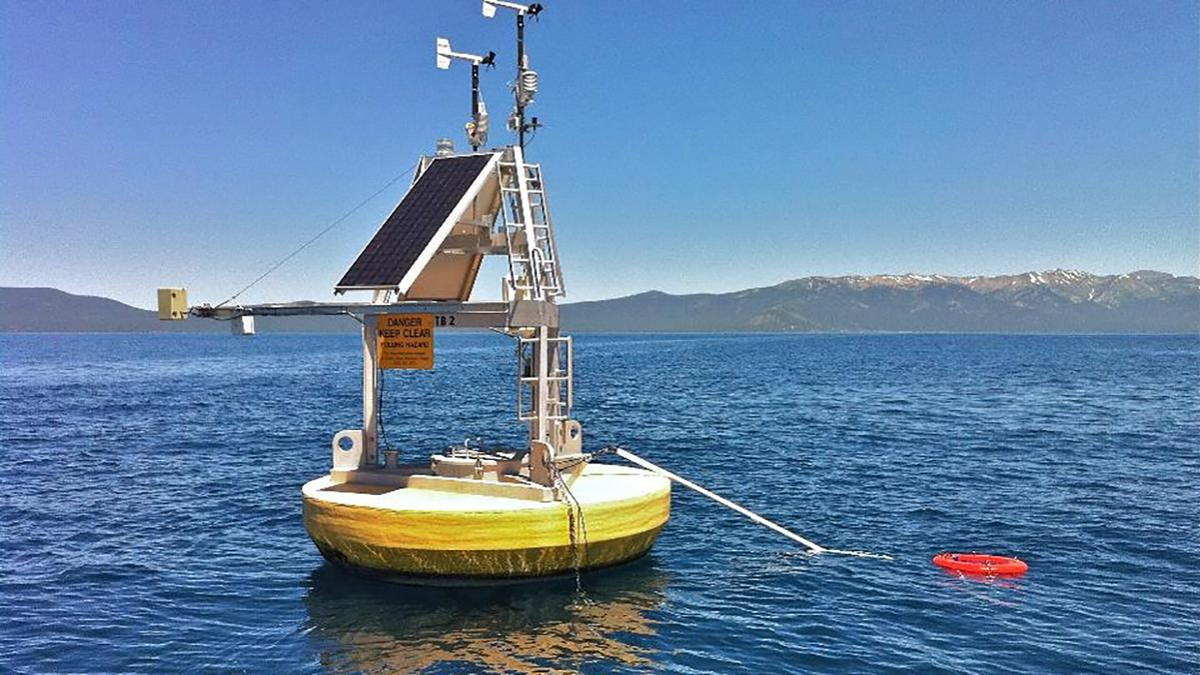 The study used a combination of satellite data and ground-based measurements taken by buoys such as the one seen above, located in Lake Tahoe on the Nevada/California border