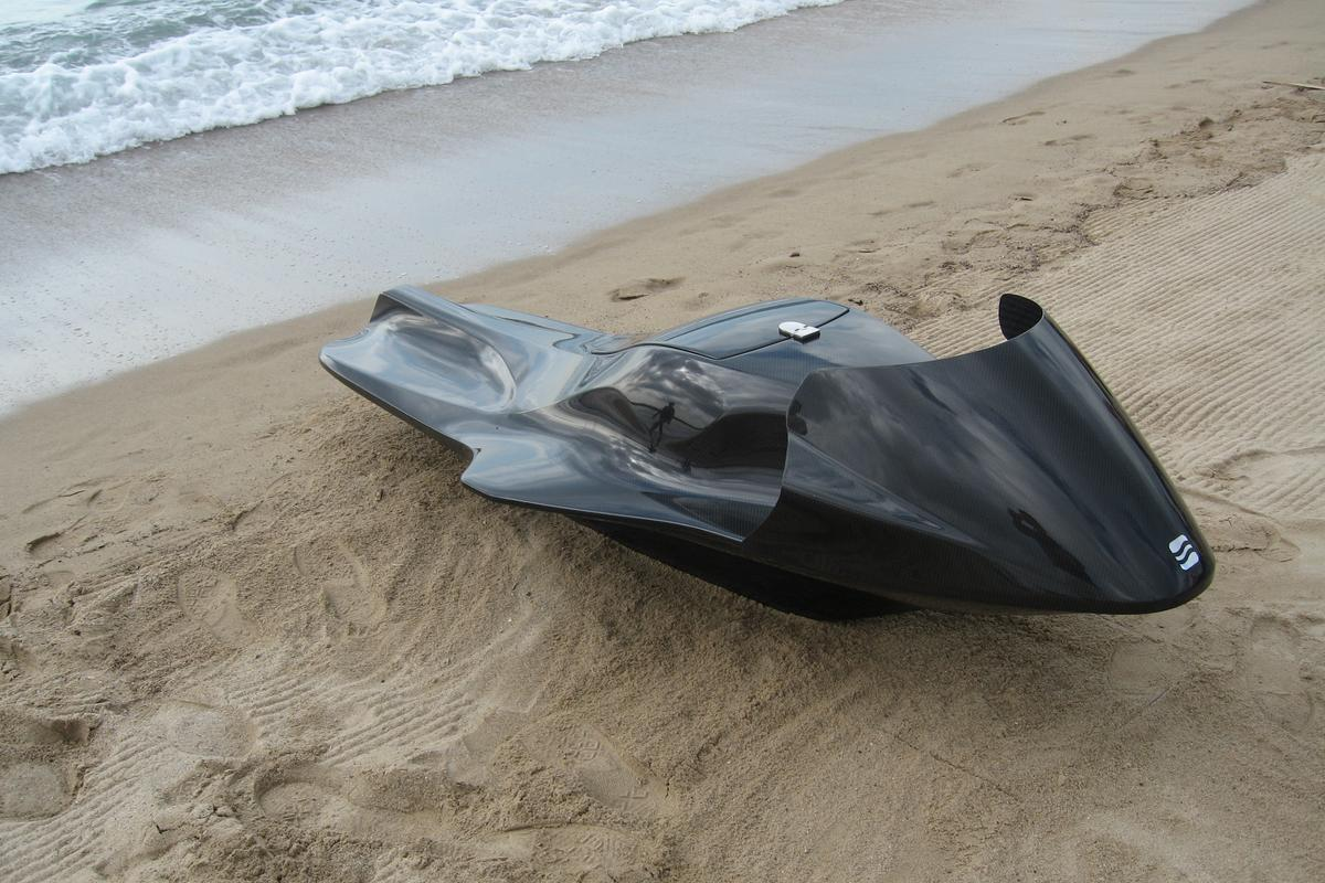 The EXO is an electric personal watercraft, which riders lie on in a prone position