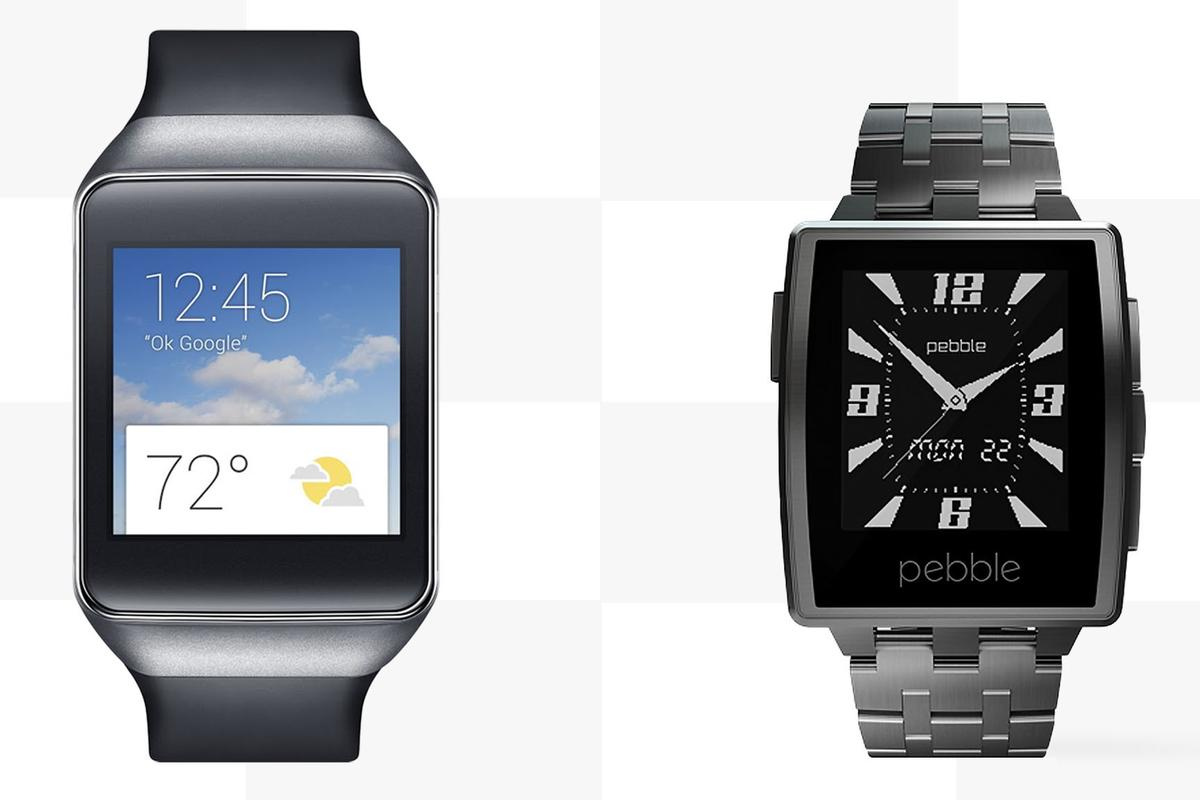 Gizmag compares the features and specs of the Android Wear-running Samsung Gear Live with the elegant Pebble Steel