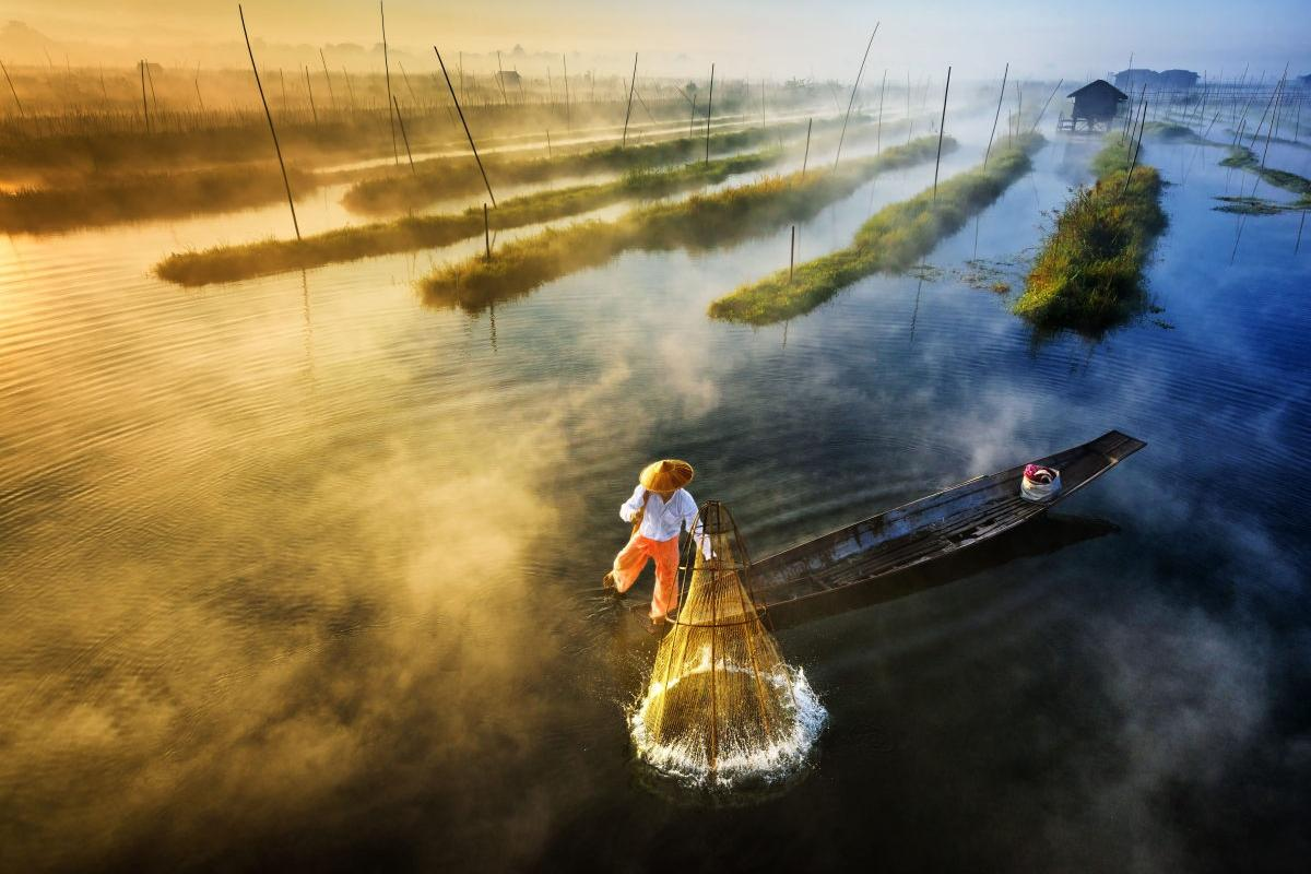 An Intha fisherman goes to work in Myanmar. This drone shot won first prize in the Professional's Landscape category of SkyPixel's 2017 Photo Contest