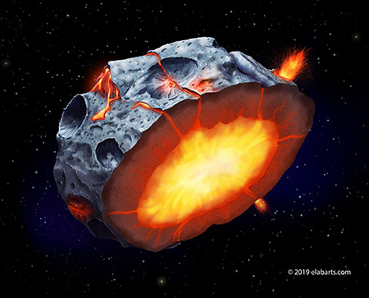 As a metallic asteroid such as Psyche cooled and solidified, iron volcanoes may have erupted onto its surface