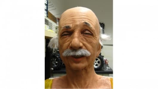 The Einstein robot head performs some random facial movements as part of the learning process