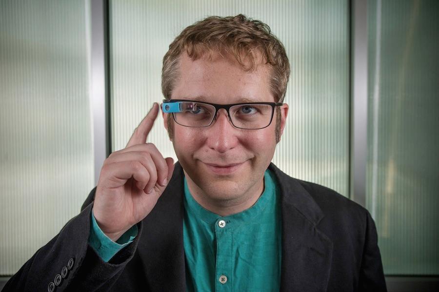 Prof. Thad Starnerwith the Morse code-teaching eyewear