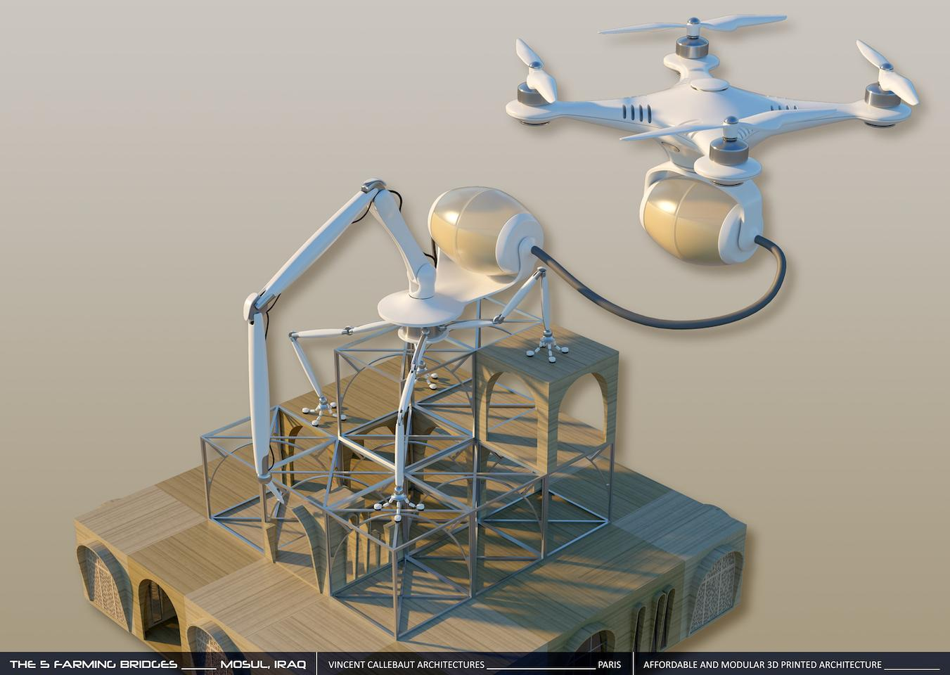 The 5 Farming Bridges proposal would involve drones transporting building material to 3D-printing robots that take the form of spiders