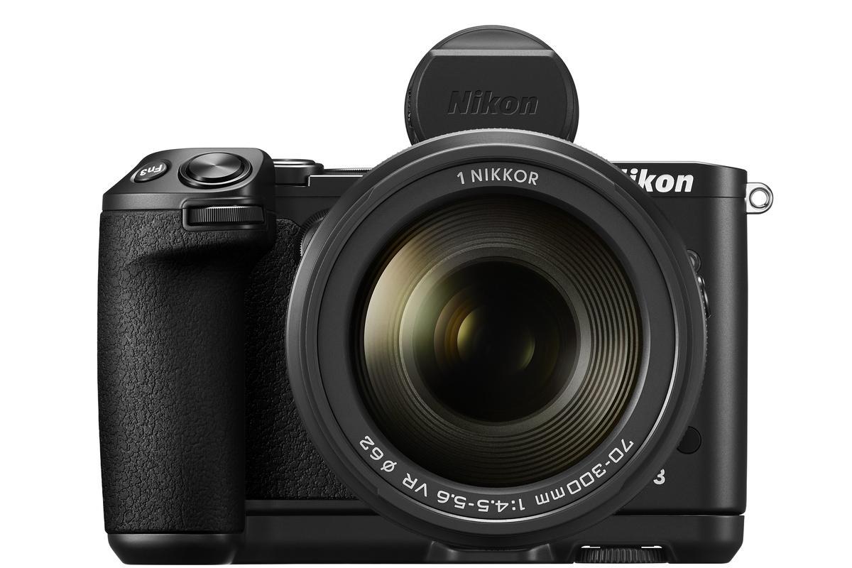 The Nikon 1 V3, including optional EVF and grip