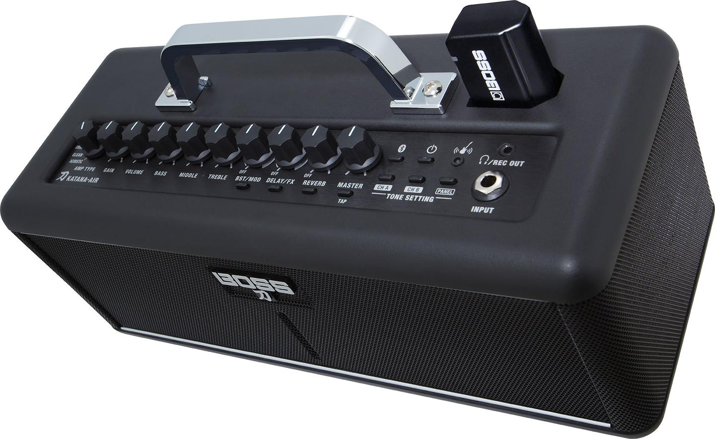 The transmitter's Li-ion battery is charged by plugging the device into the Air amp