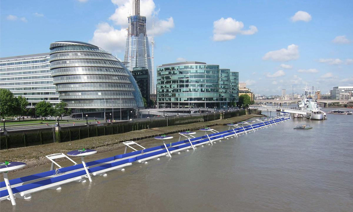 The Thames Deckway proposal would stretch for up to 7.45 miles (12 km) along the Thames, from Battersea to Canary Wharf (Image: River Cycleway Consortium)