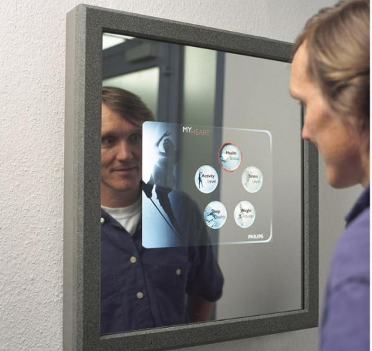 Displays for user interaction can be integrated into every-day appliances like a bathroom mirror.