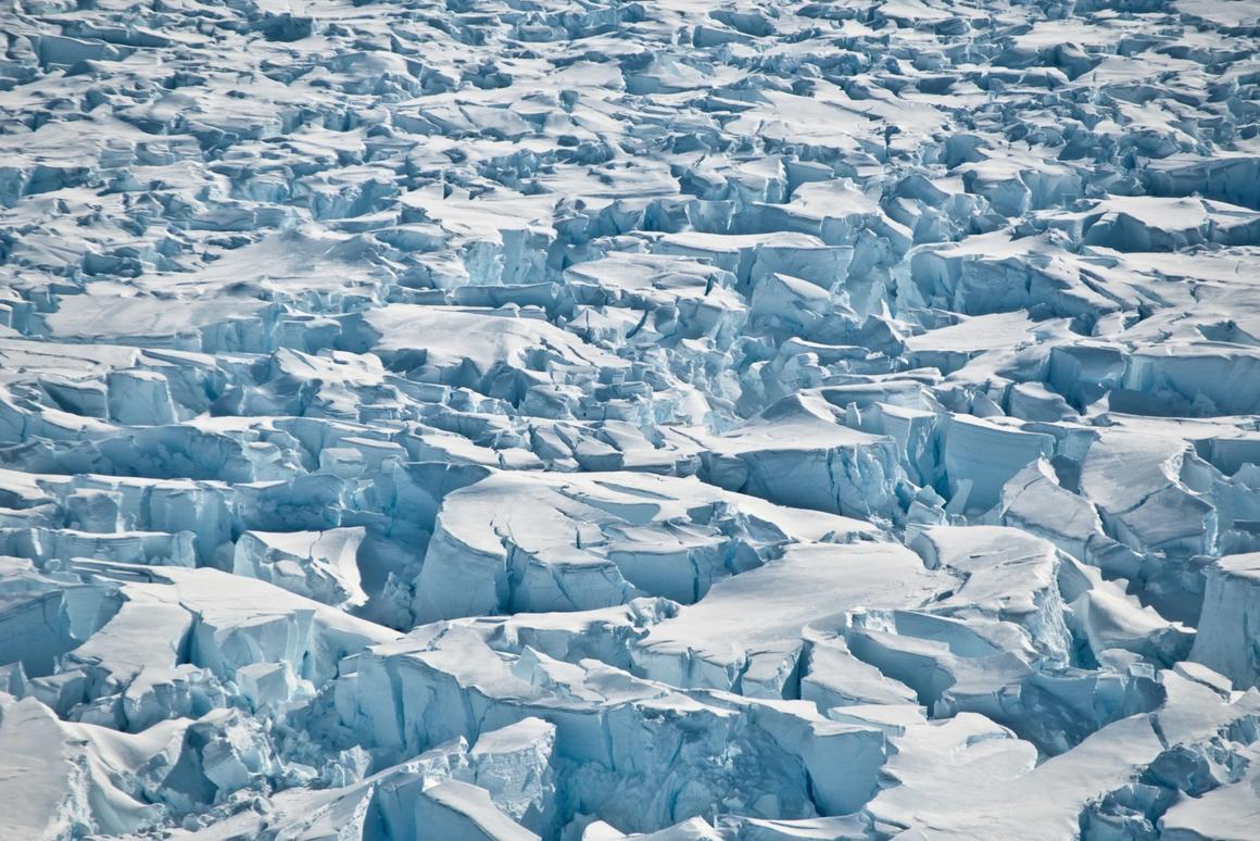 Crevasses near Pine Island Glacier, Antarctica, which is one of the hardest hit regions