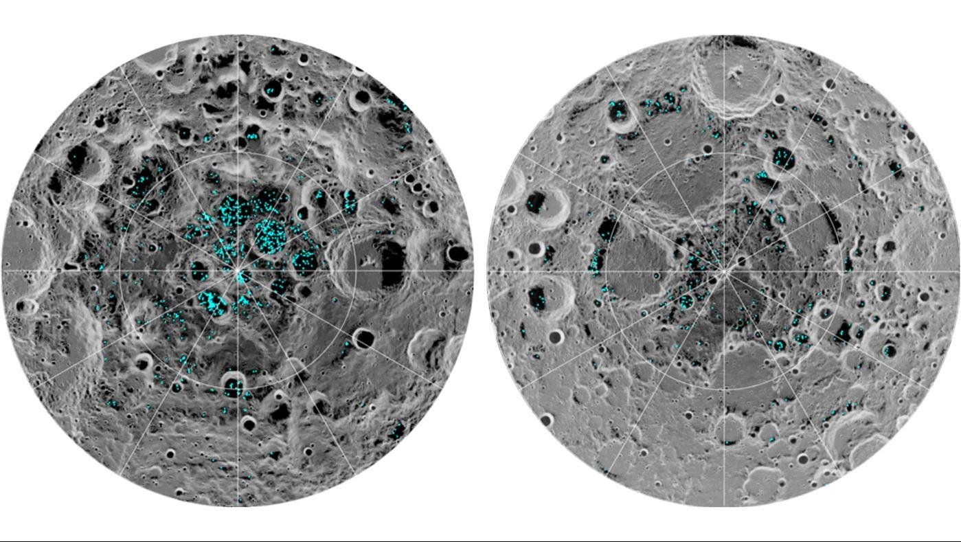Distribution of surface ice at the Moon's south pole (left) and north pole (right) as detected by NASA's Moon Mineralogy Mapper instrument
