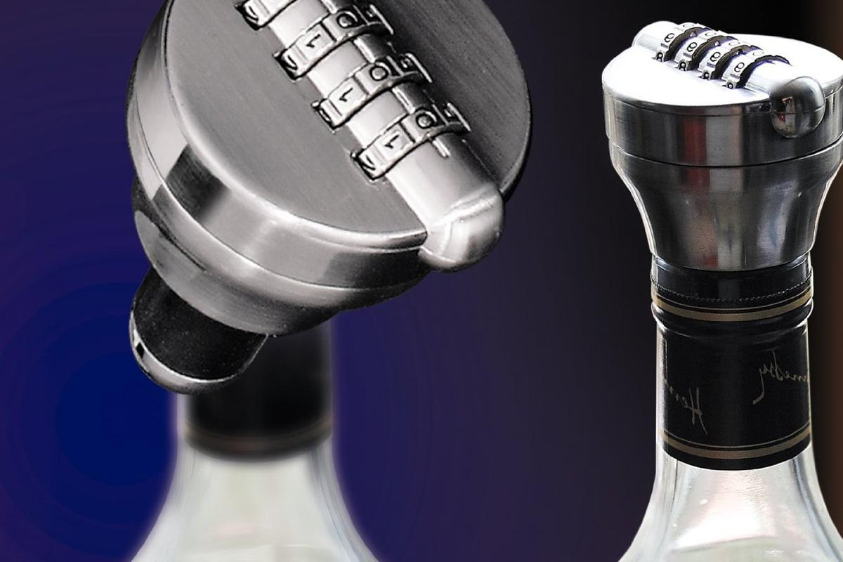 The Bottle Lock securely slots into wine and liquor bottles with a twist