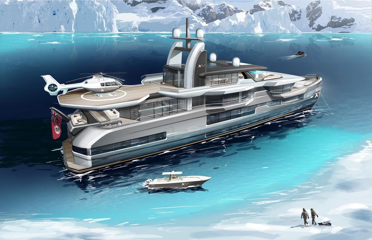 With multiple tenders, a helipad, options for submarines, jet skis and more, the Heesen Xventure is like a floating toy garage — that can travel up to 5,000 miles a fill